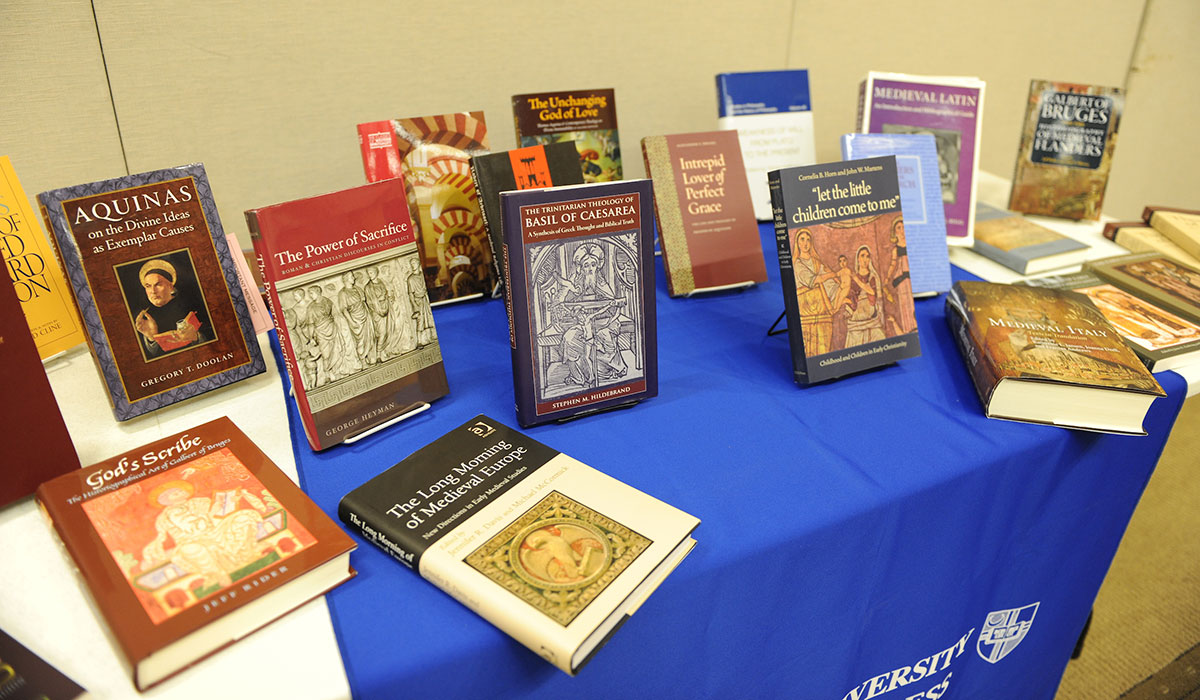 Series of books from Medieval and Byzantine Studies on a table