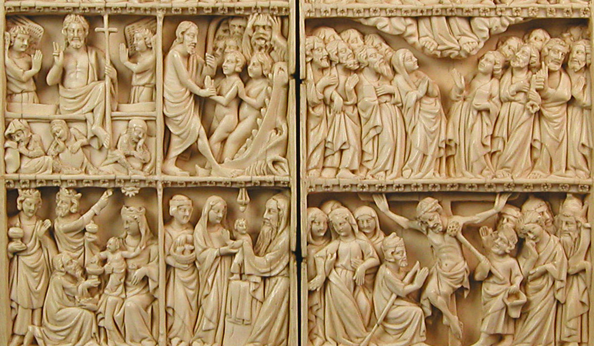 Scenes of the Life of Christ and the Virgin, Saint Michael, John the Baptist, Thomas Becket, and the Trinity carved into ivory