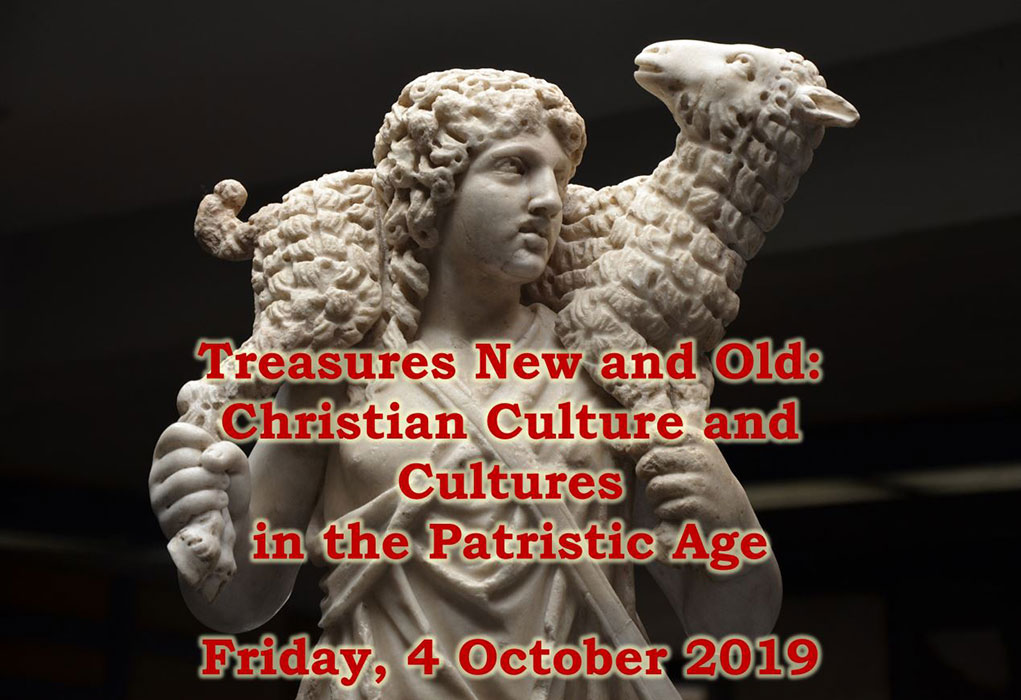 Statue of shepherd carrying a sheep. Words Treasures New and Old: Christian Culture and Cultures in the Patristic Age Friday, 4 October 2019